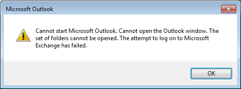 Cannot Start Microsoft Outlook Error